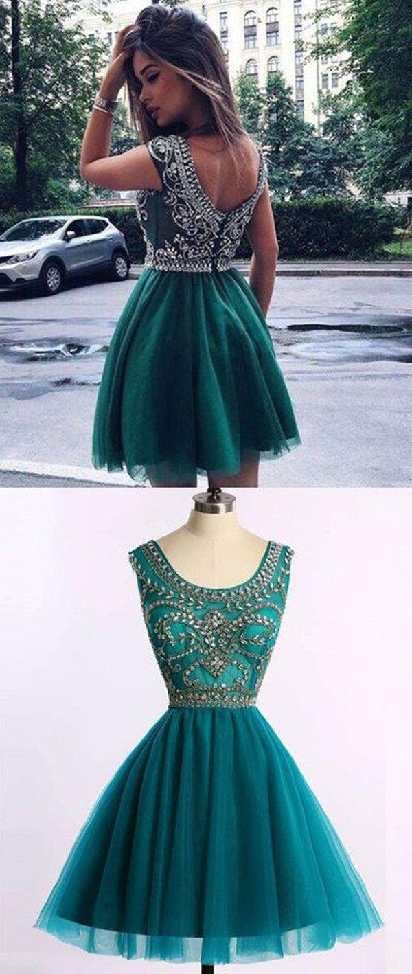 Green Scoop Homecoming Dresses,Sleeveless Open Back Beading Short ...