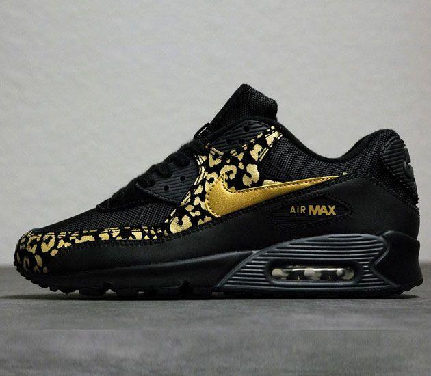 Nike WMNS Air Max 90 - Black/Metallic Gold-Anthracite | Nike ...