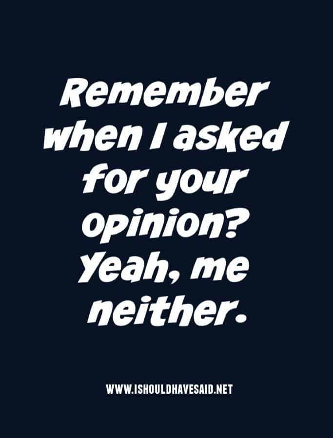 Latest Funny Sayings Top ten comebacks to insults when people attack your political views | I should have said What to say when people force their political opinions on you 6
