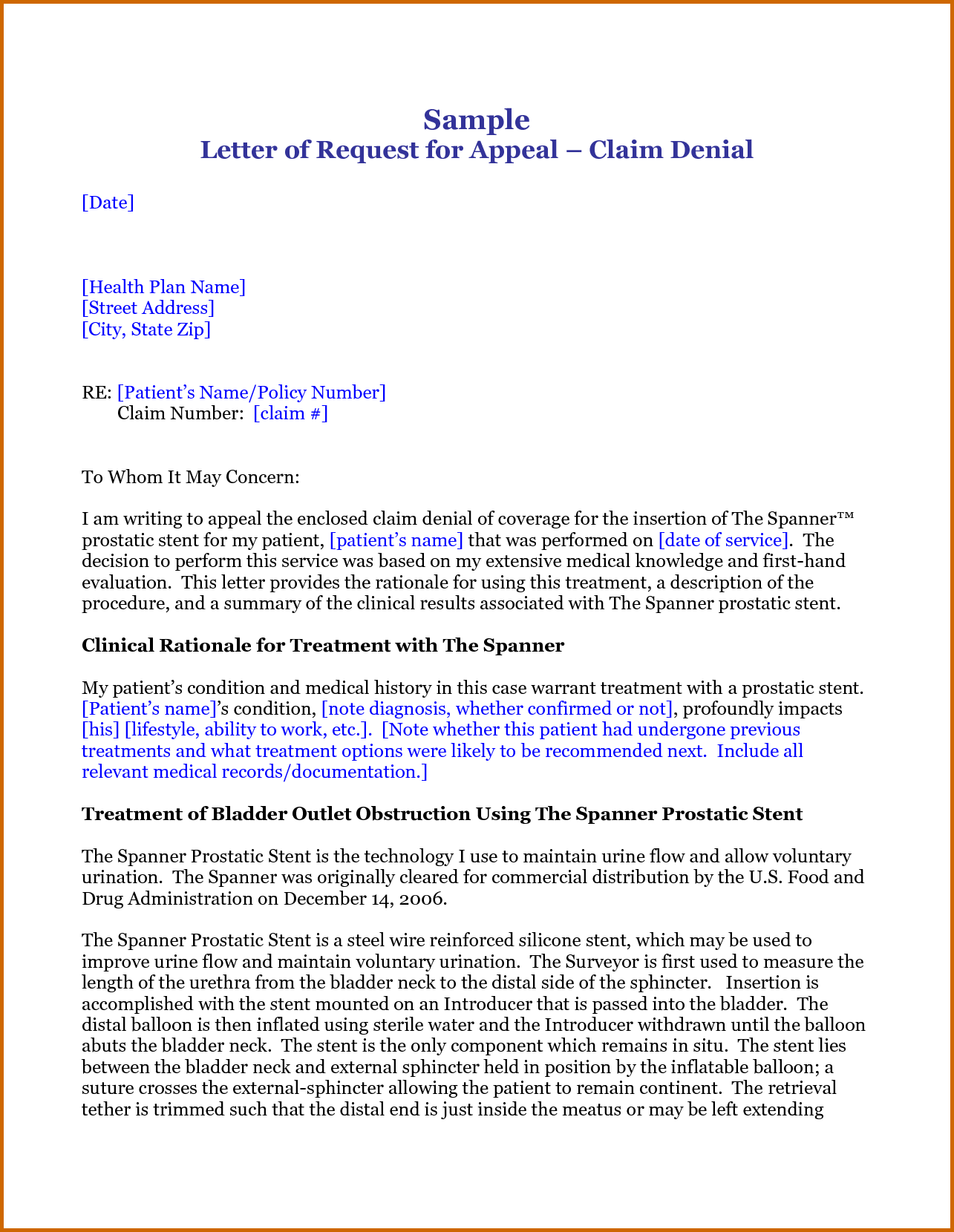 Appeal Letter For Insurance Claim Denial Lease Template Response