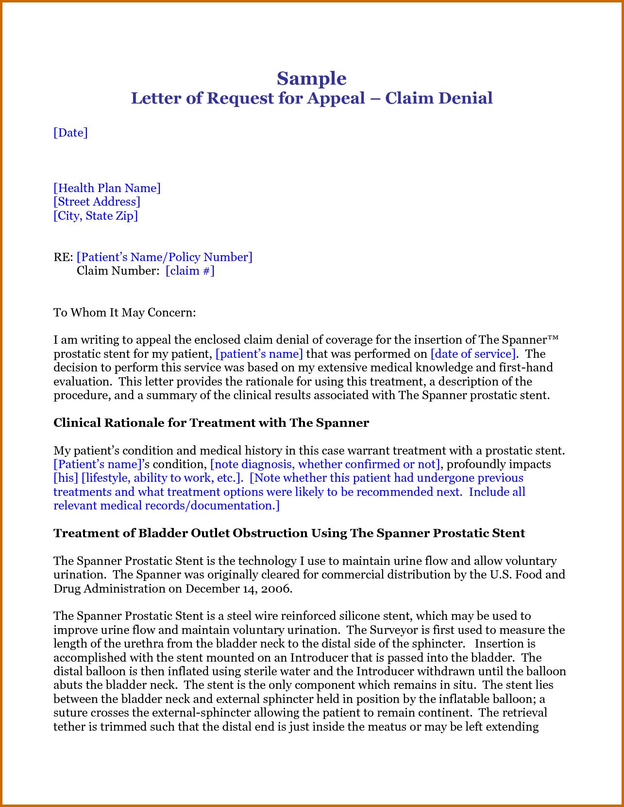 appeal letter for insurance claim denial lease template response ...