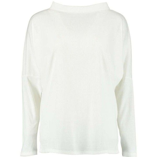 Boohoo Aine Turtle Neck Oversized Rib Tee   Boohoo (1.295 RUB) ❤ liked on Polyvore featuring tops, t-shirts, ribbed tee, white crop tee, oversized t shirt, white crop top and basic tees