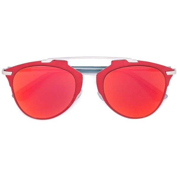 Dior Eyewear 'Reflected' sunglasses ($400) ❤ liked on Polyvore featuring accessories, eyewear, sunglasses, glasses, red, red sunglasses and red glasses