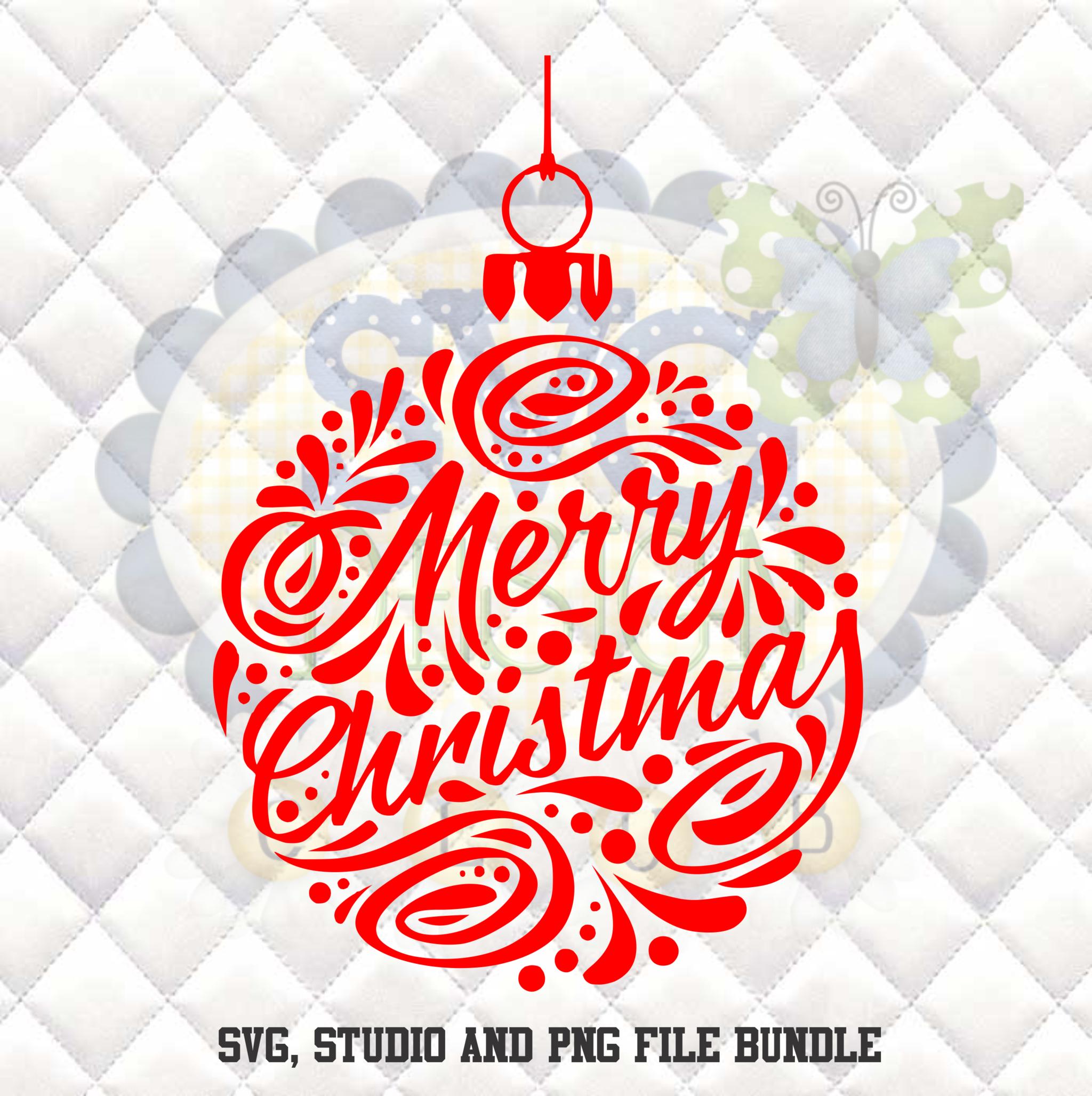 Merry Christmas Ornament Silhouette studio bundle design