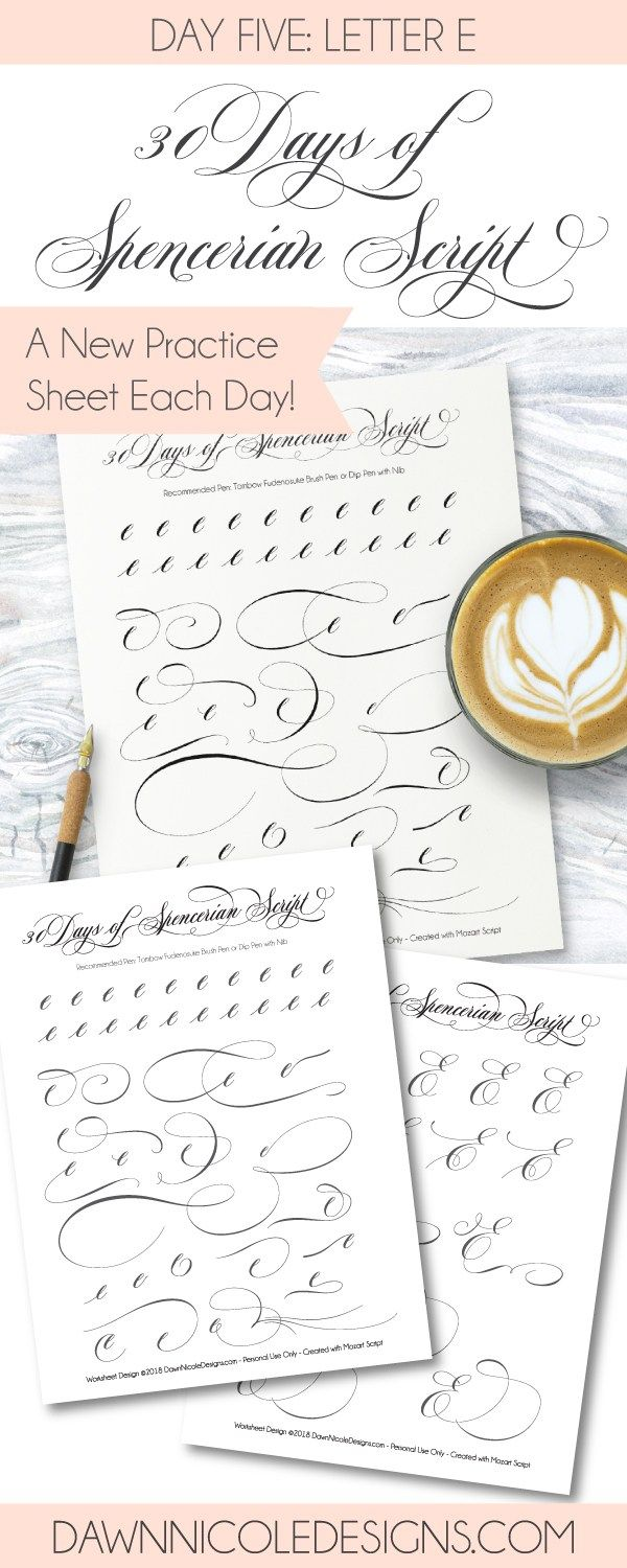 Spencerian Script Style Letter E Worksheets Worksheets 30th And