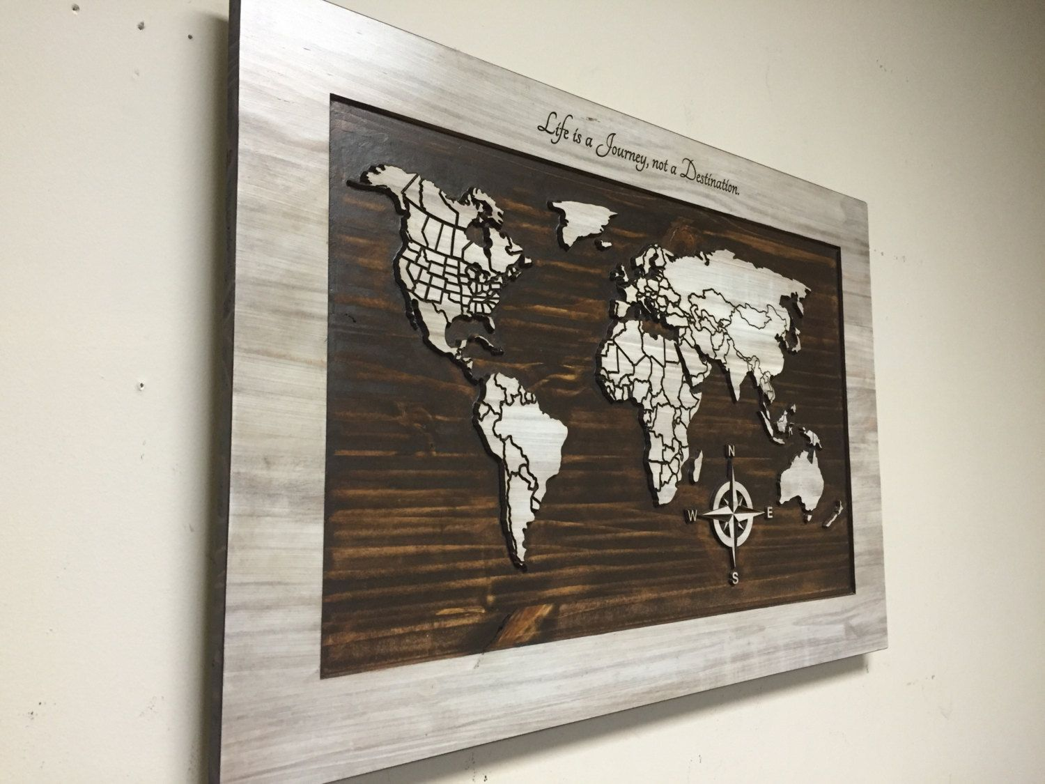 Wood wall art carved world map home decor wooden 3 panel life wood wall art carved world map home decor wooden 3 panel gumiabroncs Choice Image
