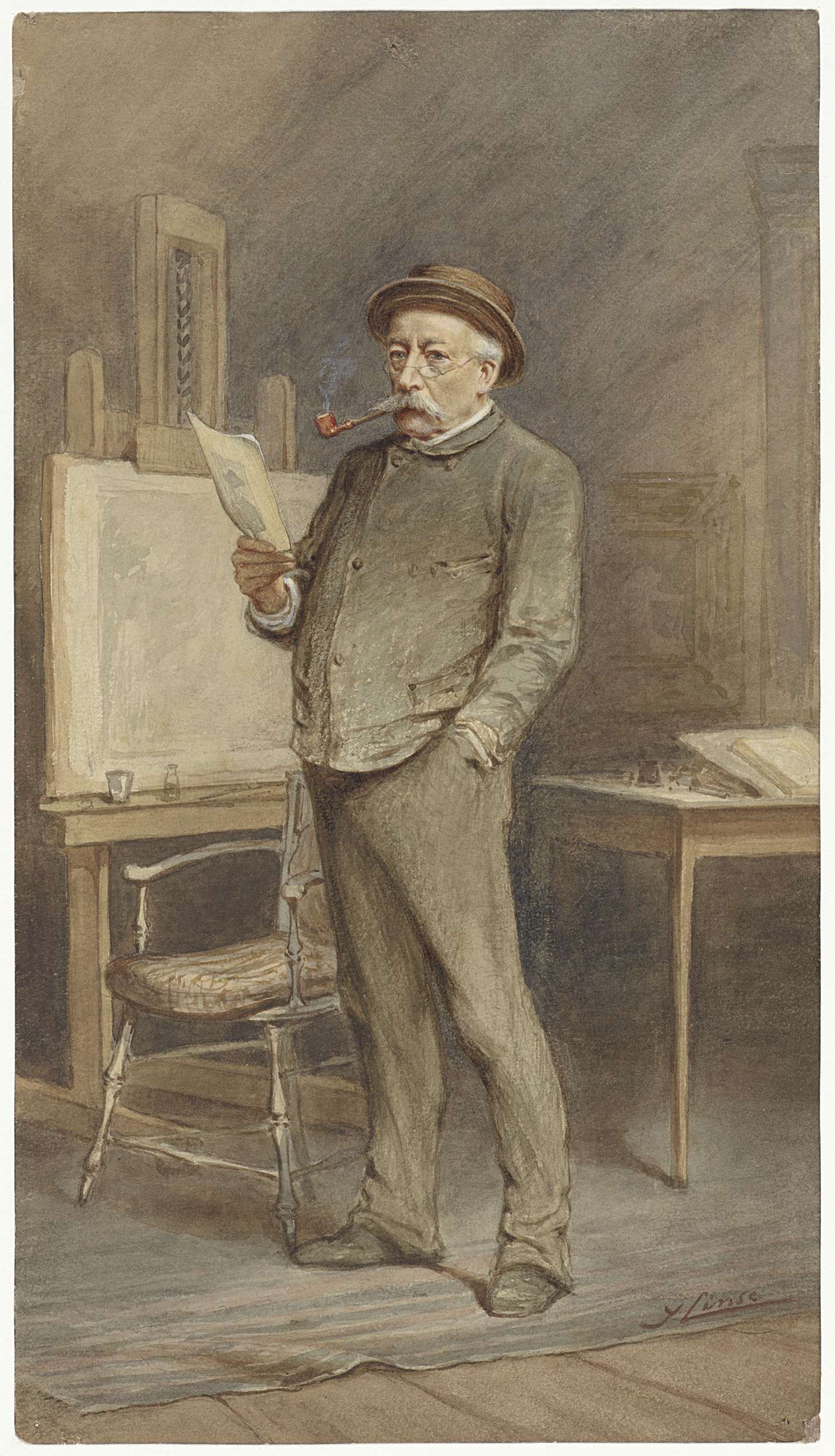 Hendrik Jan Carel Linse   Portret van Charles Rochussen in zijn atelier, Hendrik Jan Carel Linse, 1879   Portret van de kunstenaar Charles Rochussen in zijn atelier.
