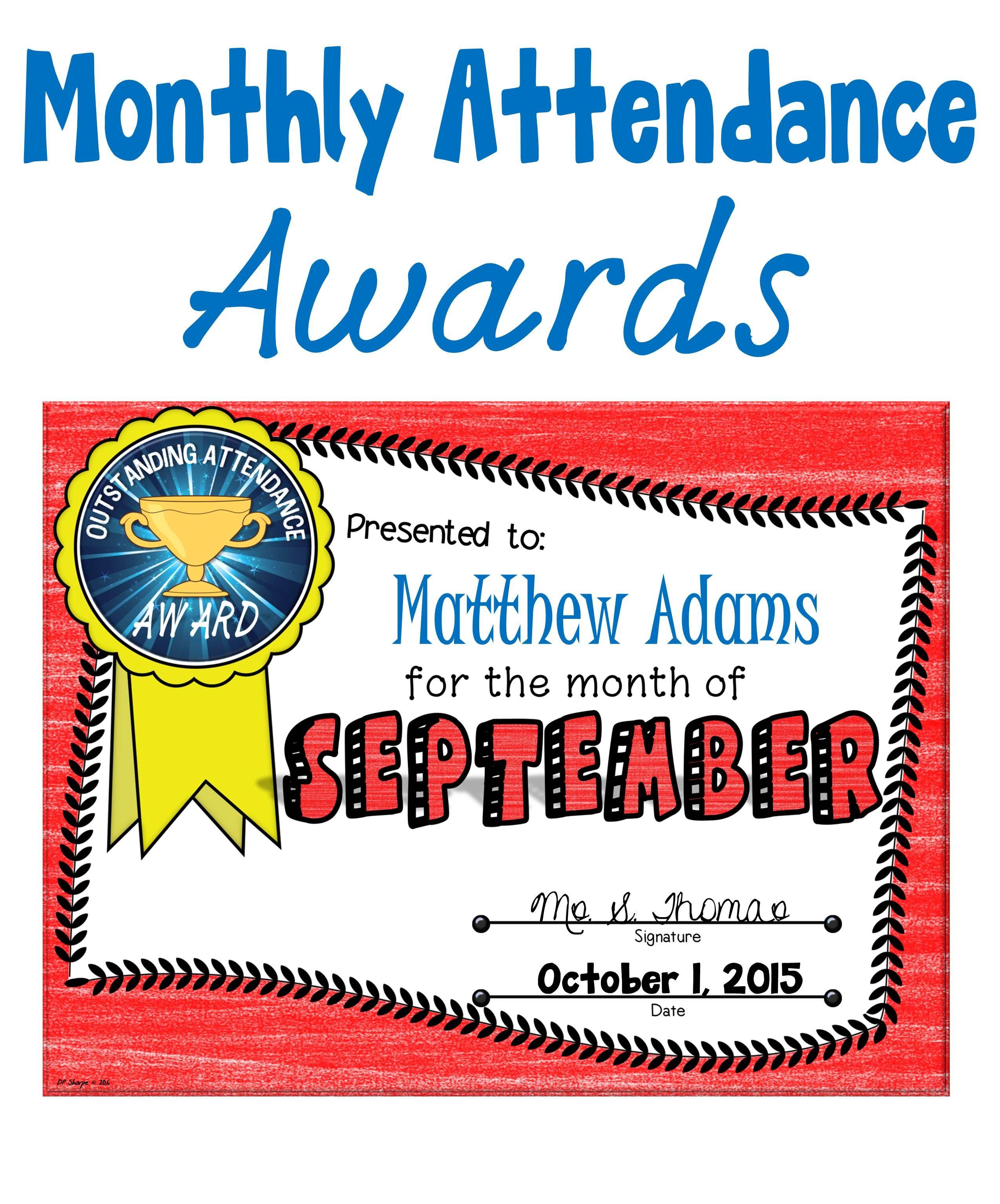 monthly attendance awards best of teachers pay teachers for
