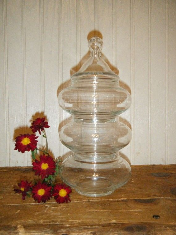 Set of Stackable Clear Glass Apothecary Jars by simplelifevintage, $16.00