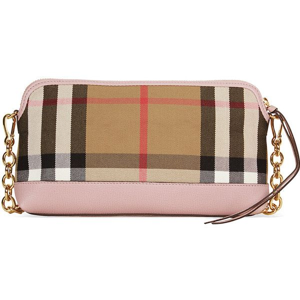 Burberry House Check and Leather Clutch - Pale Orchid ($1,095) ❤ liked on Polyvore featuring bags, handbags, clutches, genuine leather purse, chain strap purse, burberry pochette, burberry handbags and real leather purses