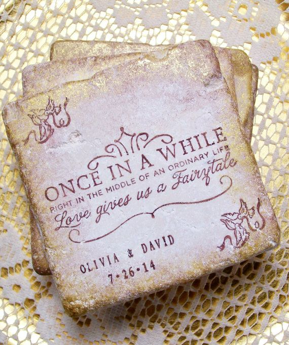 Stone Wedding Coasters, Fairy Tale Coasters, Personalized Wedding Gift, Once in a While Right in the Middle of an Ordinary Life, Set of 4 #personalizedwedding
