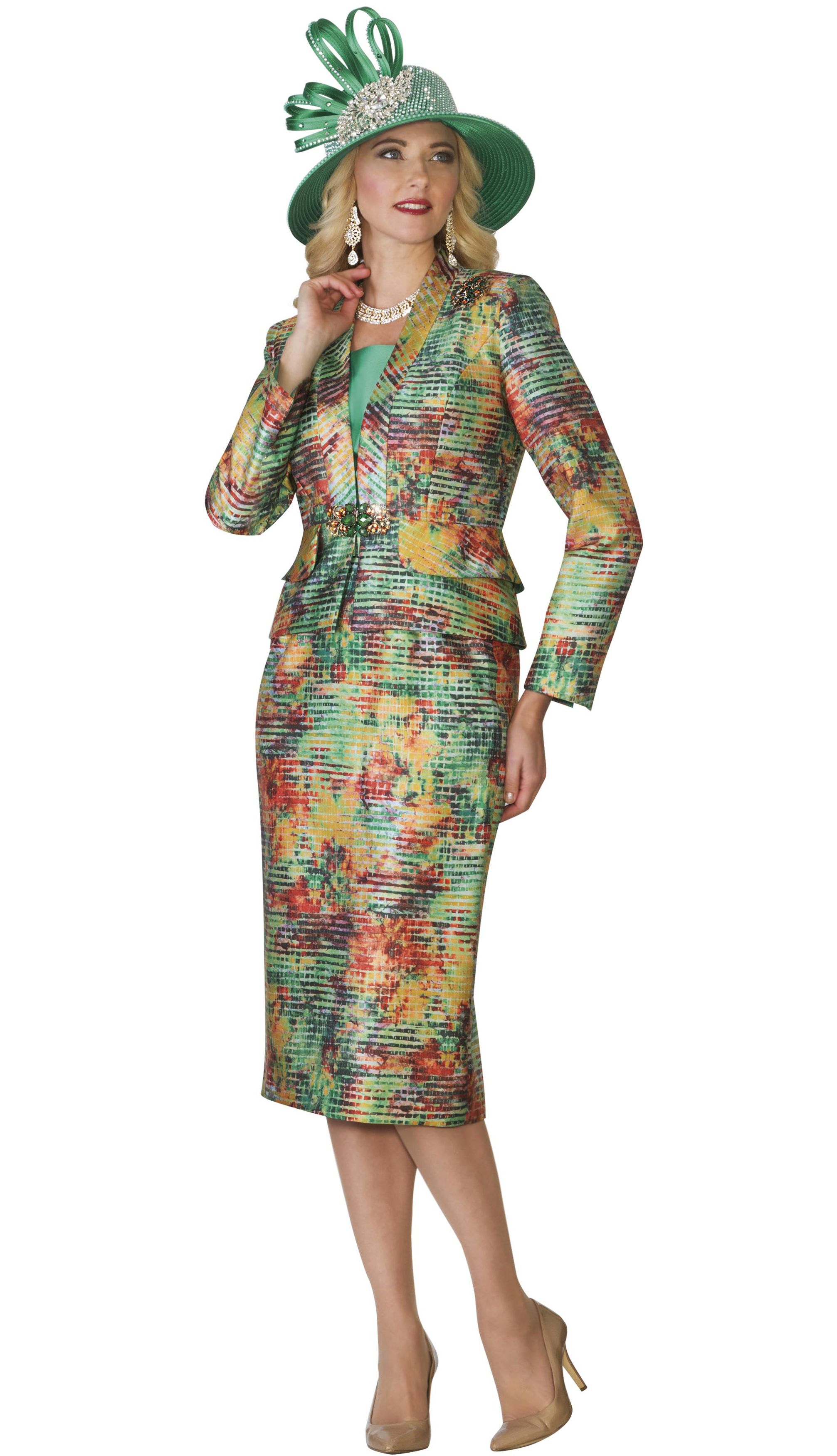 78534ff03ed11a Style Lily and Taylor 4097 3 Piece Multi Color Womens Skirt Suit With Vee  Neckline Colors Jade With Multi Sizes 4 6 8 10 12 14 16 18 20 22 24