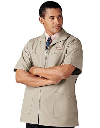 Landau Men/'s Four Pockets Short Sleeve Professional Jacket 1140