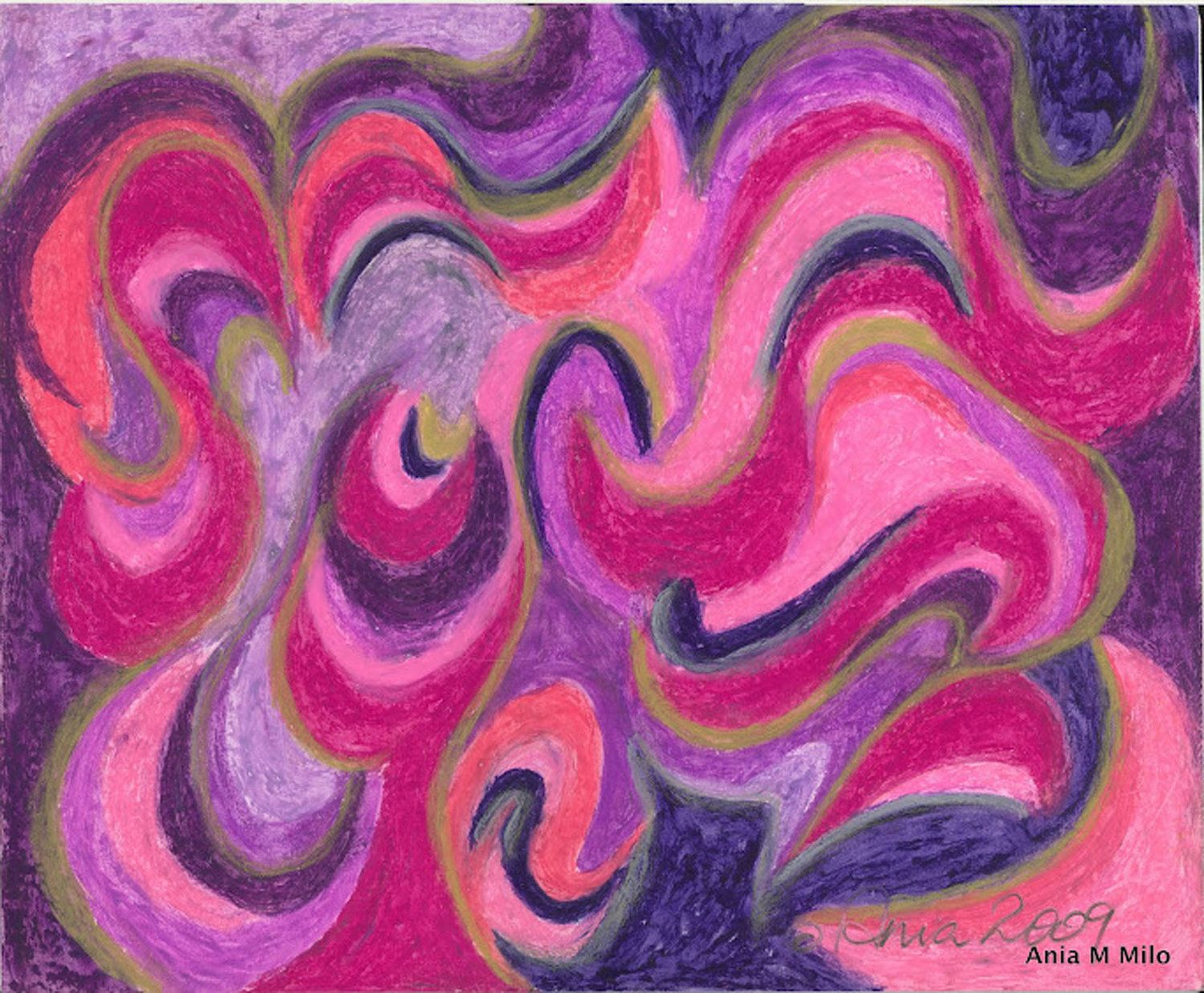 Abstract Oil Pastel Painting Life Energy by AniaMiloArtandPets ...