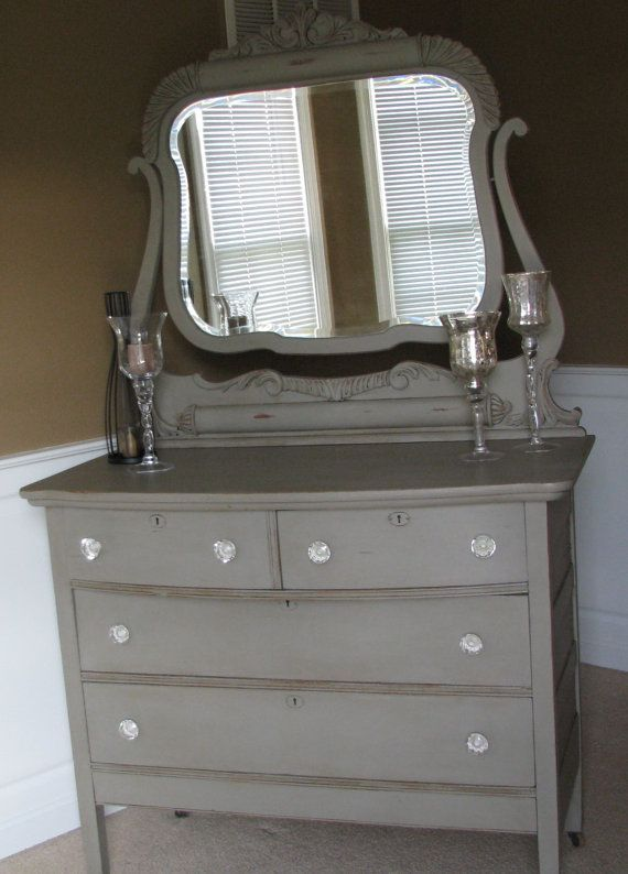 Chalk painted dressers   Antique Chalk Painted Dresser with Mirror  Would  swap outchalk painted dressers   Antique Chalk Painted Dresser with Mirror  . Painting Old Furniture With Chalk Paint. Home Design Ideas