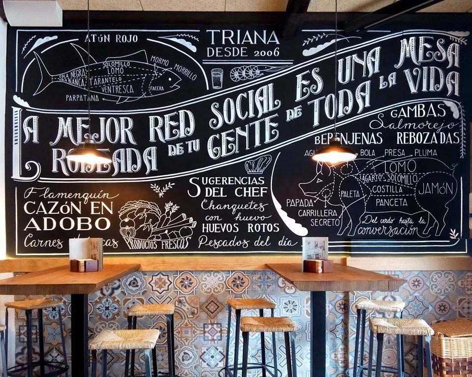 Mural para el restaurante triana chalkboard wall for - Pizarras de bar ...
