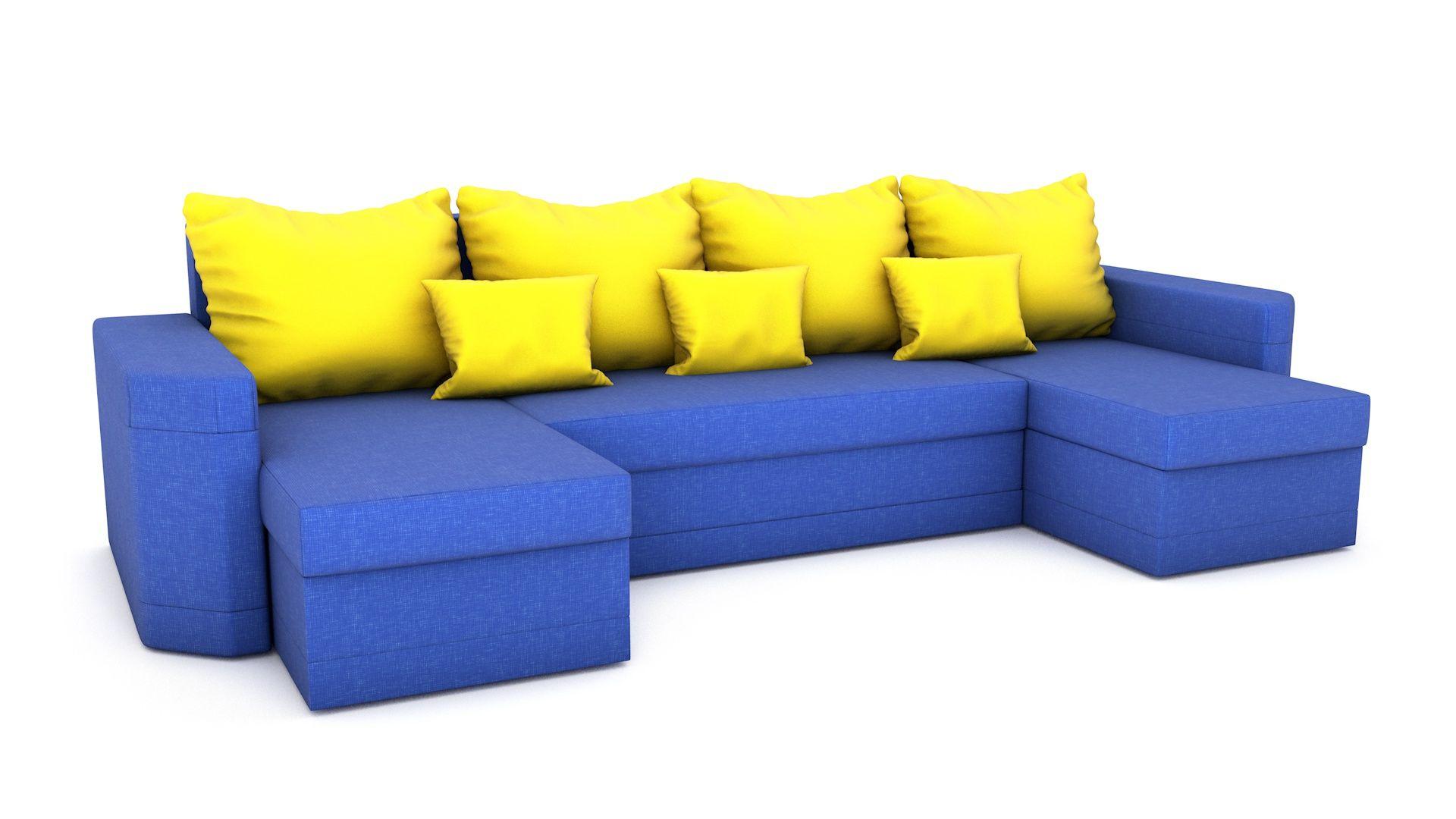 Die Couch hat zwei Behälter für Bettwäsche Das Ecksofa ist sehr