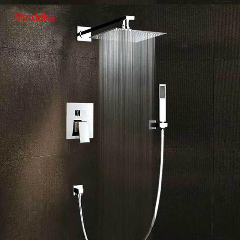 Copper Chromed Square Shower Bath Mixer With Diverter Tap With 8 ...