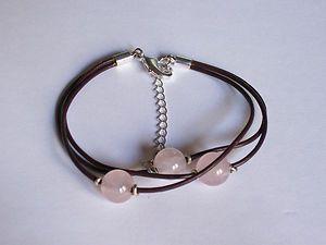Pulsera 3 piedras CUARZO Rosa / 3 Stones Rose Quartz Bracelet