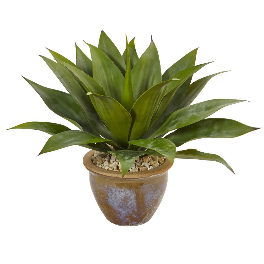 Indoor agave artificial plant in glazed clay pot green agaves