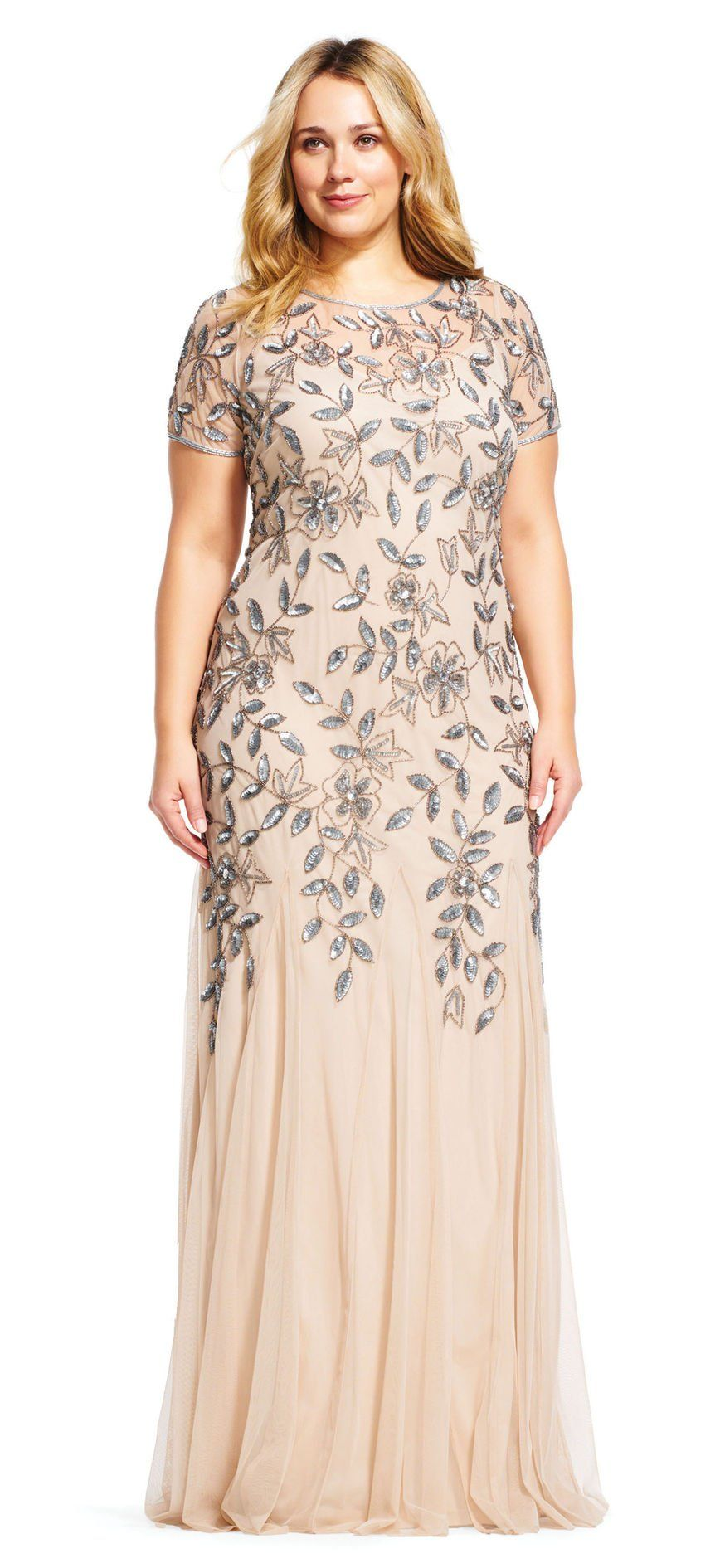 d8c0c8961a07 Floral Beaded Godet Gown with Sheer Short Sleeves in 2019