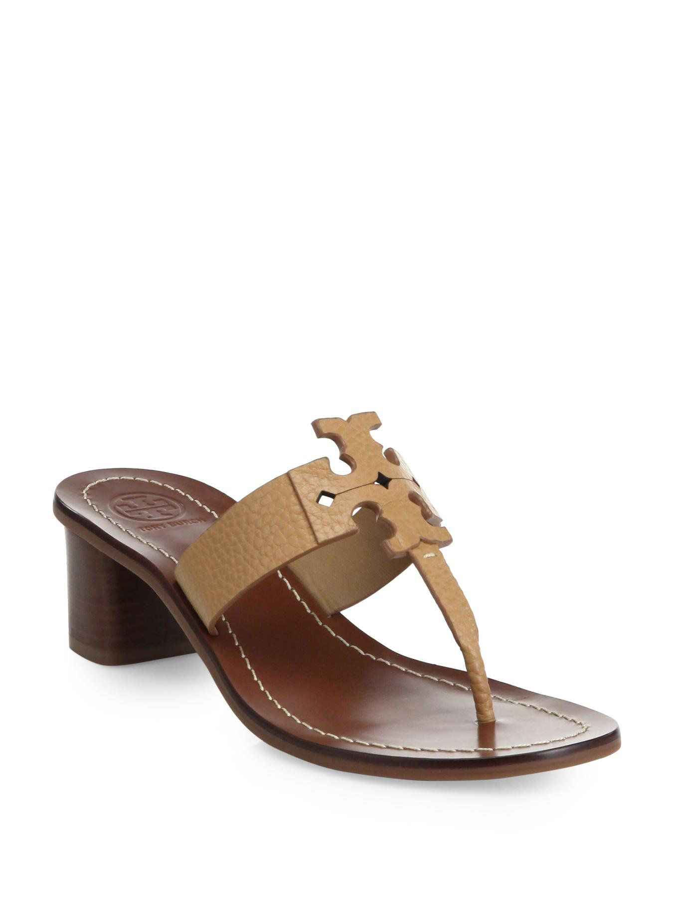 d9a4b9bbbc3f89 Tory Burch Moore Leather Thong Sandals in Brown (tan)