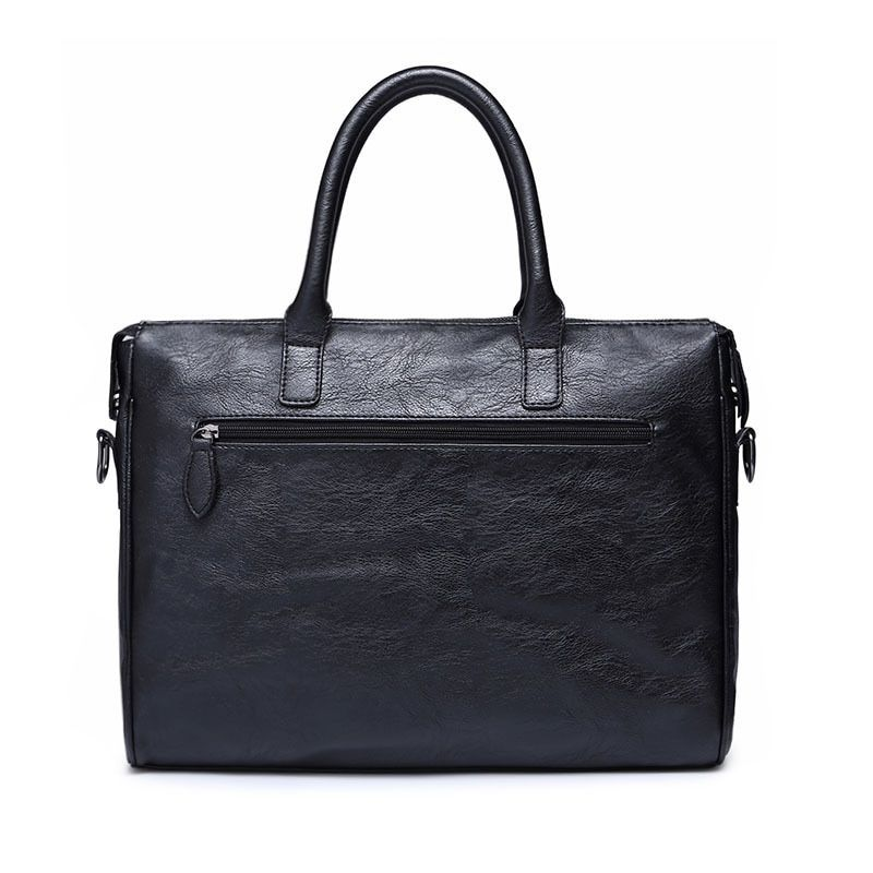 Men Briefcase Leather Laptop Handbag Tote Man Bag For Male Shoulder Bag black