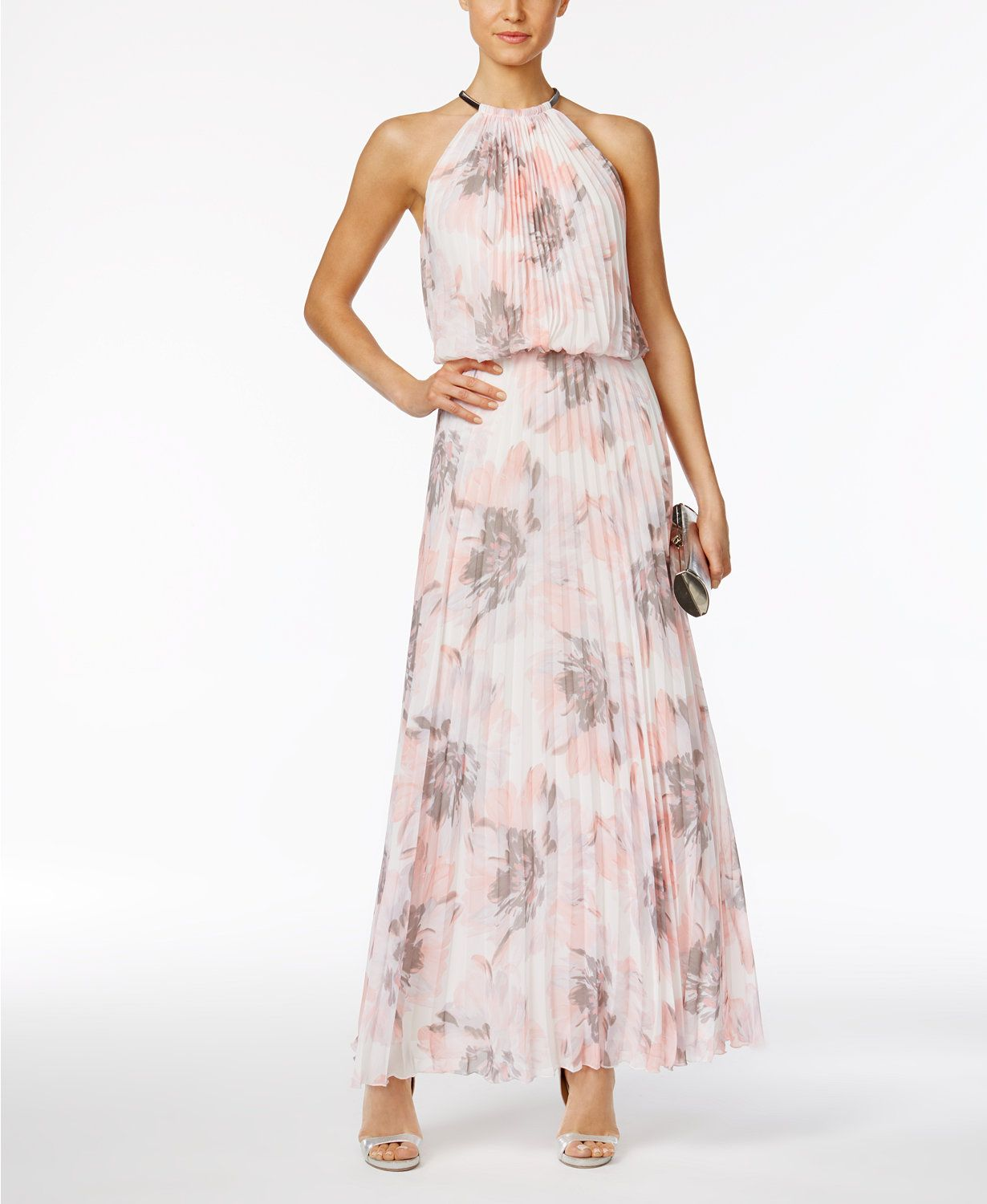 MSK Pleated Floral-Print A-Line Gown | macys.com | Macy\'s ...