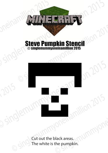 Steve From Minecraft Pumpkin Stencil Pumpkin Stencil Minecraft Pumpkin Pumpking Carving