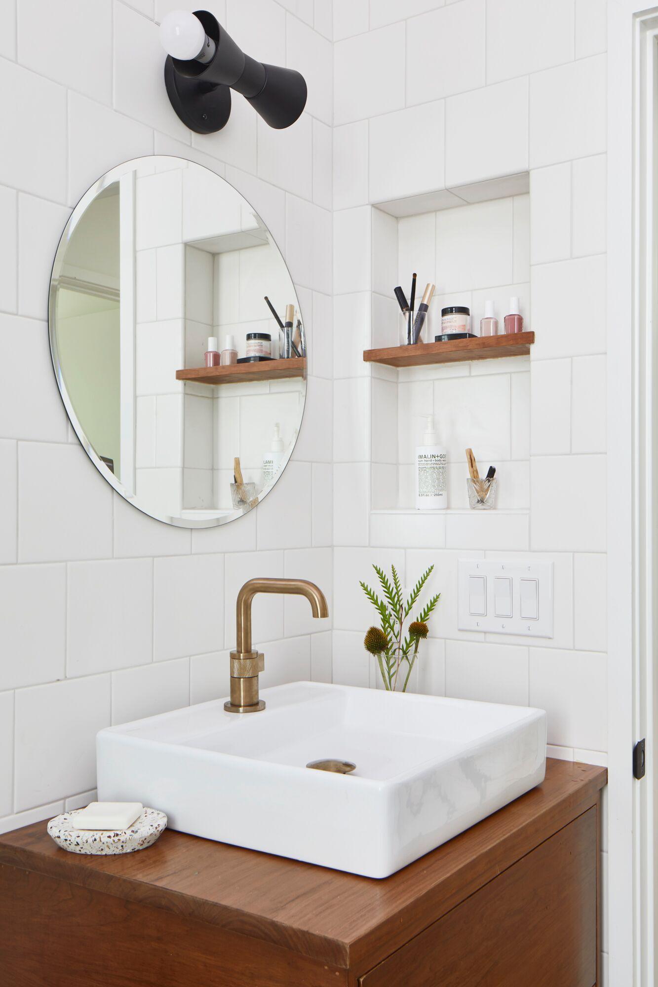 Vanity Niche Bathroom Mirror With Shelf Bathroom Inspiration Bathroom Niche [ 2000 x 1333 Pixel ]
