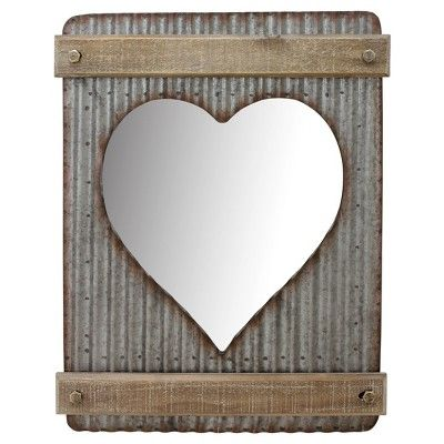 Best Corrugated Heart Shaped Wall Mirror Brown Silver Metal And 640 x 480