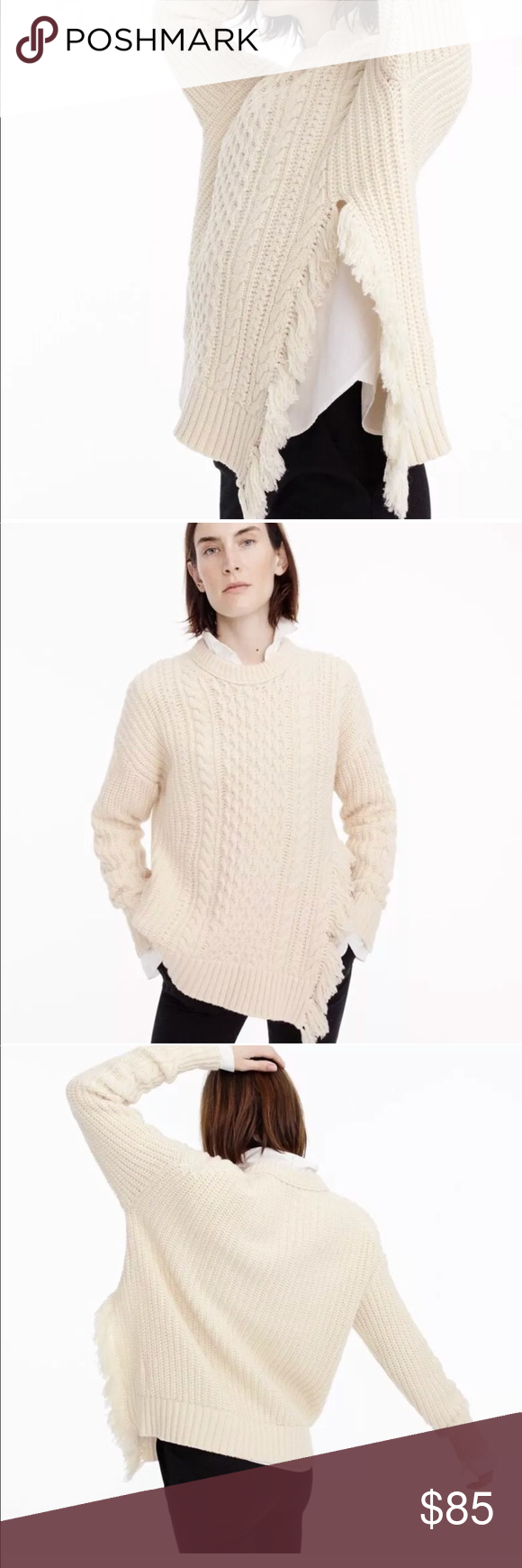 9117fc4c9e3647 J crew cable knit sweater with fringe detail DETAILS & CARE The classic cable-knit  sweater with a twist (that fringe side detail) features a lofty, ...
