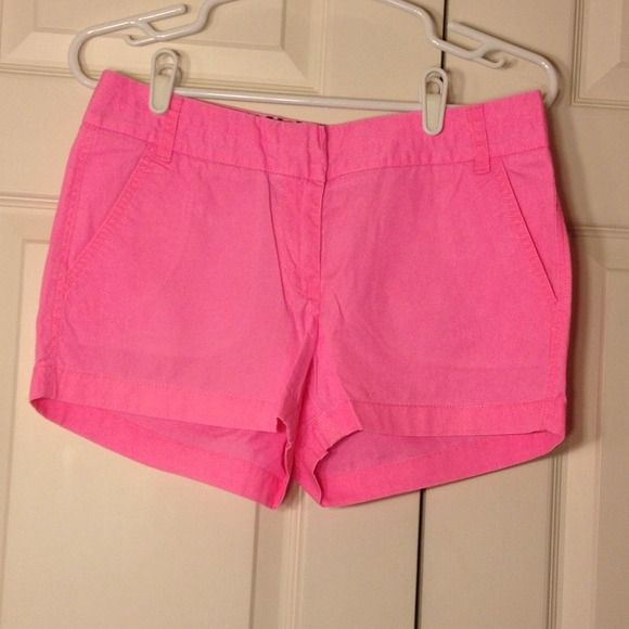 J. Crew Chino Hot Pink Shorts These hot pink shorts are a great summer staple. There is minimal fading. Fits true to size. 100% cotton. Machine wash cold gentle cycle. Tumble dry low. J. Crew Shorts