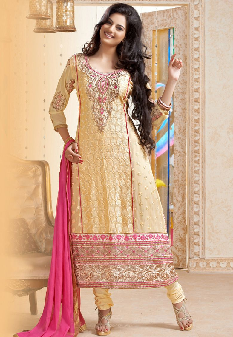 """#Classy Cream !!! #Cream Georgette kameez designed with Zari And Resham Embroidery With Stone Work And Patch Patta Work. Available with Cream Santoon Bottom with matching Chiffon Dupatta. This Semi Stitch kameez can be customized upto 40"""""""" inches.   INR-3325 Only  With Exclusive 30% Discount  Shop now@ http://tinyurl.com/q8dweab"""