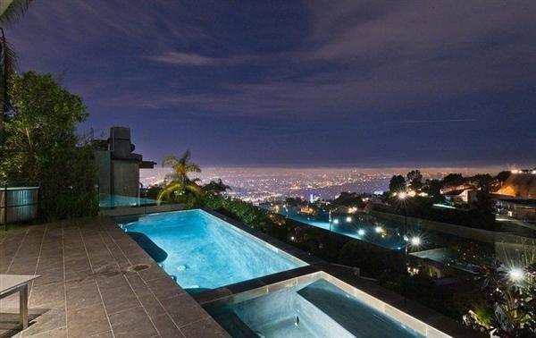 Beautiful Night Scenery Viewed from Swimming Pool of