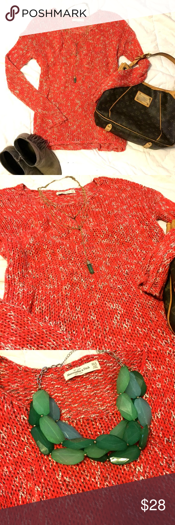 Pretty orange open knit comfy sweater Great oversized fit. Cute with leggings or jeans 💕 size XS/S but can fit a M easily Abercrombie & Fitch Sweaters Crew & Scoop Necks