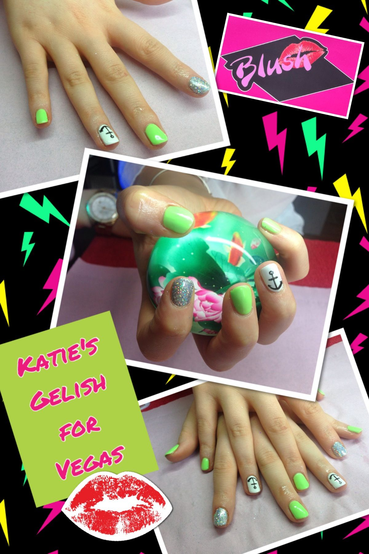 Katies Neon Green Gelish With A Sparkle And An Anchor Design Nail
