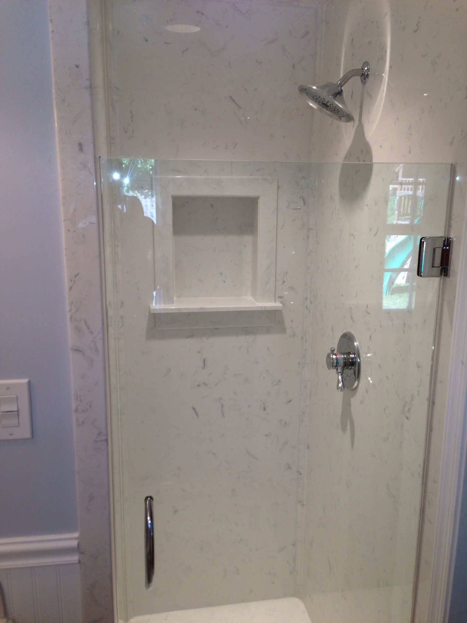 Our new shower with cultured marble | Bathroom Shower Panels ...