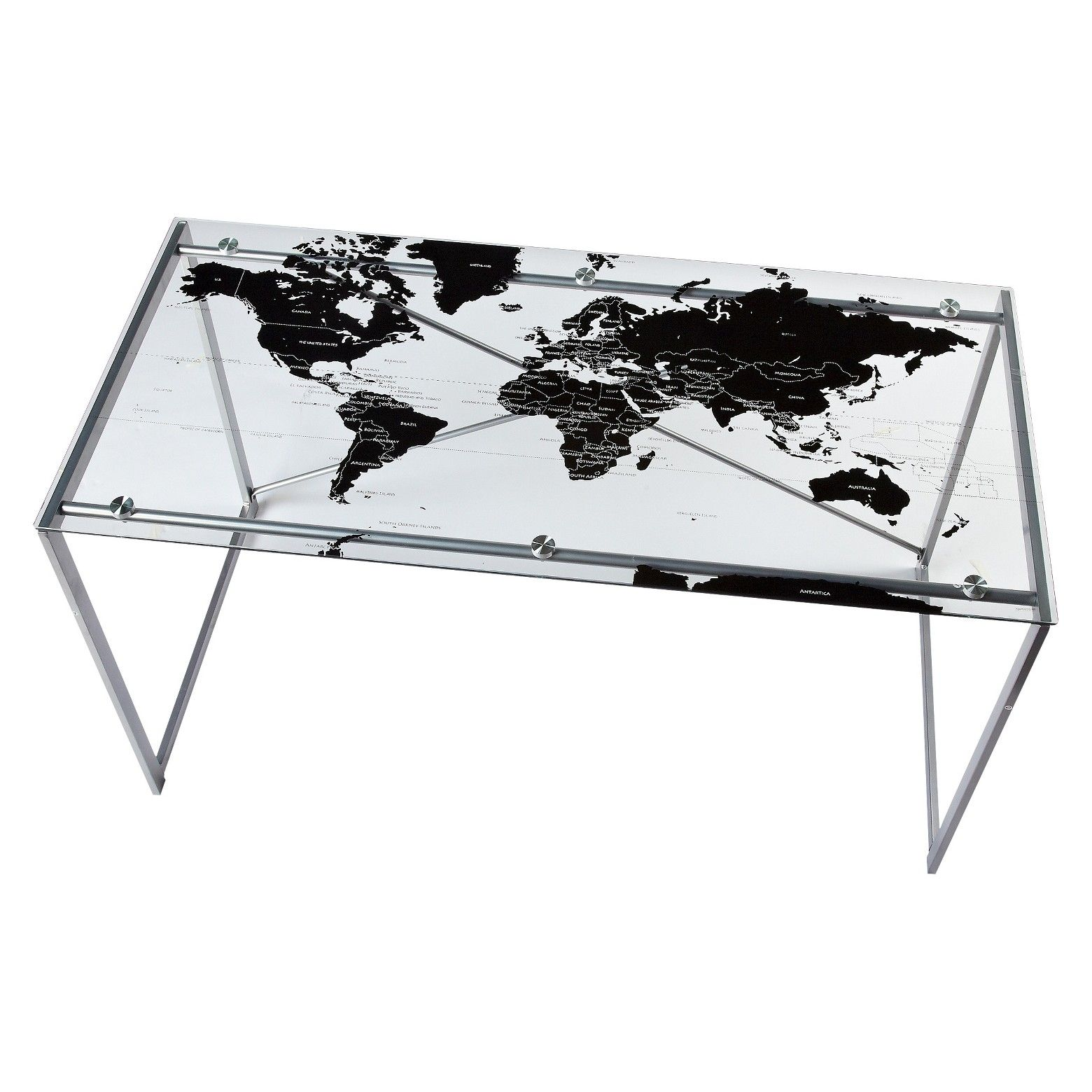 Tms world map desk desks glass top desk and decor styles featuring a world map design this contemporary glass top desk is both fun and functional gumiabroncs Images