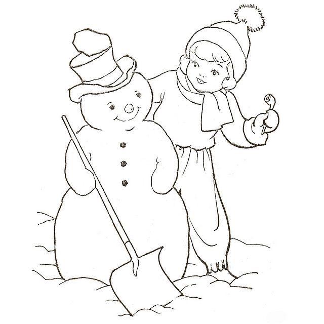 Snowman  Snowman coloring pages, Vintage coloring books, Coloring