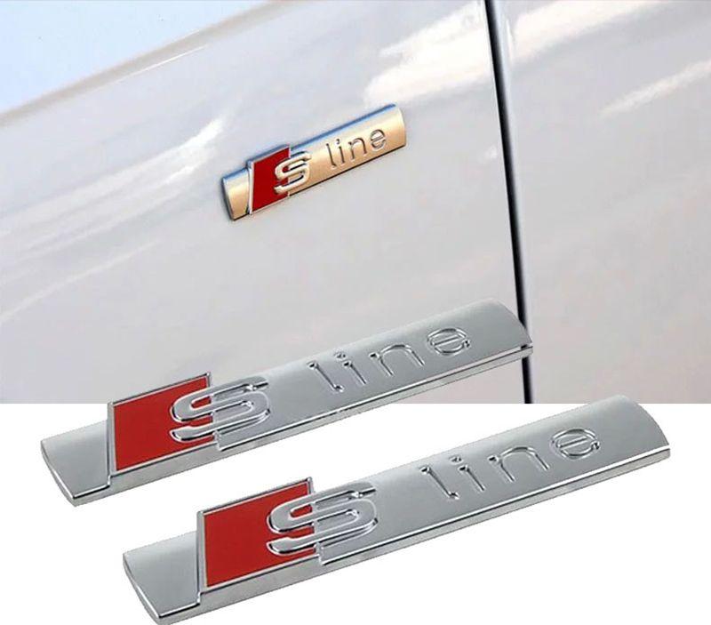 Auto Car Vehicle 3D S-line Metal Sticker Styling For Audi A3 A4 A5 A6 Q3 Q5 Q7