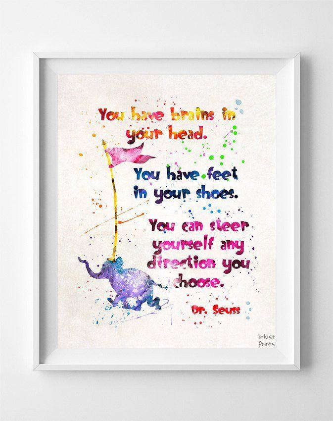 Dr Seuss Quote Type 4 Print Canvas Wall Art Quotes Watercolor Art Prints Dr Seuss Quotes