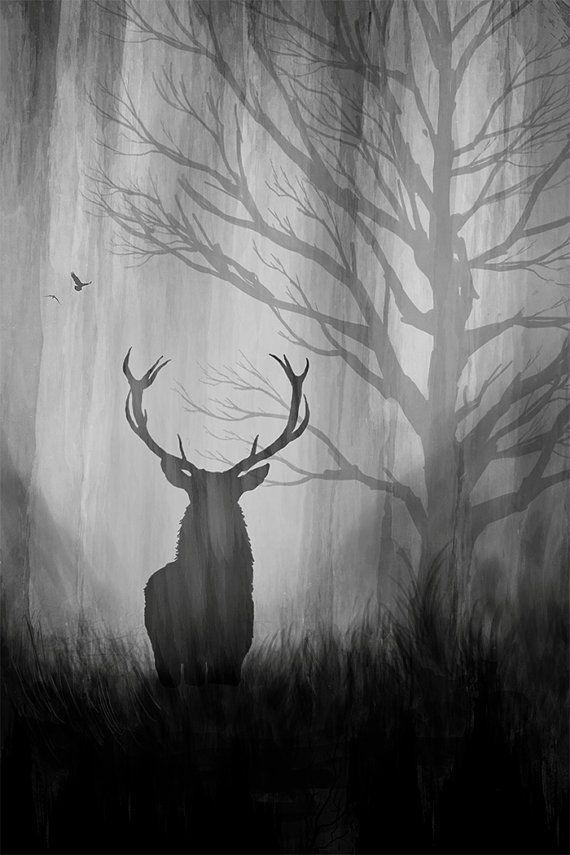 Art Print: metal art print, art paper, deer, birds, forest ...