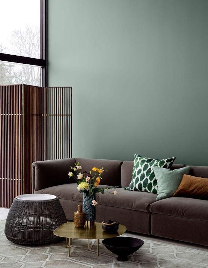1001 id es d co charmantes pour adopter la nuance vert c ladon design d int rieur - Salon marron et gris ...