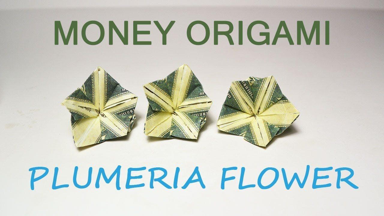 Money Plumeria Origami Flower Dollar Tutorial Diy Folded No Glue Youtube Money Origami Dollar Bill Origami Dollar Origami