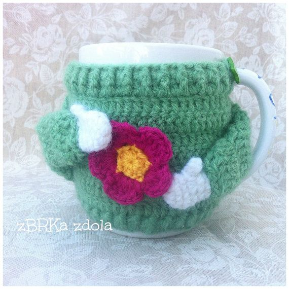 Sweater mug cosy Crochet Pattern No. 015 Set of 5 cozy | Crochet ...