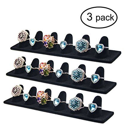 Ginasy 3 Pack Black Velvet Finger Ring Display Stands 827Lx157W