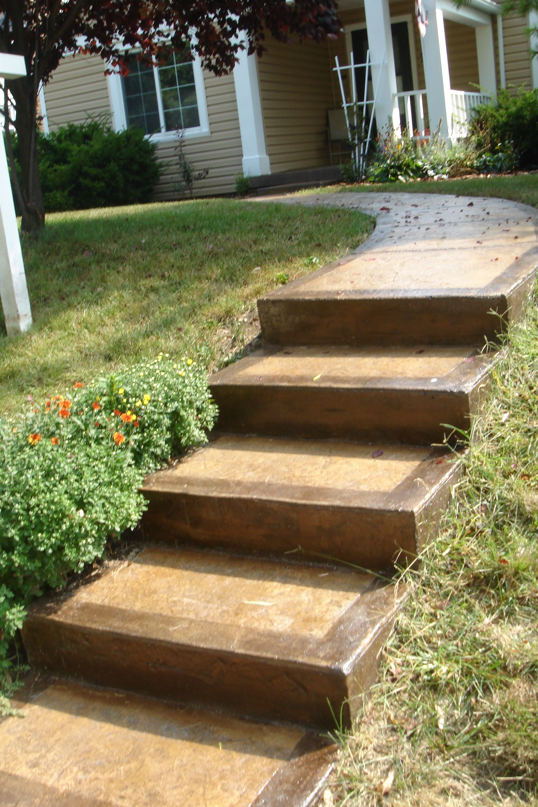 stained concrete steps and walkway | rehabbing ideas | pinterest