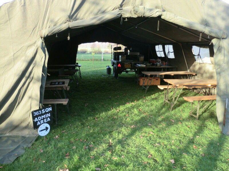 British Army Field Kitchen Trailer in 18x24 Tent ready to work, 363