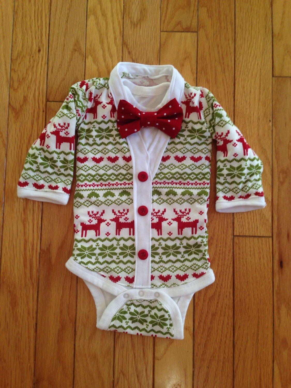 Baby boy reindeer sweater pattern bodysuit, Christmas boys